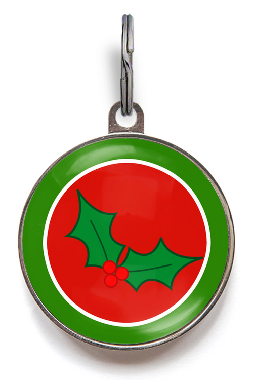 Holly Christmas Pet Tag