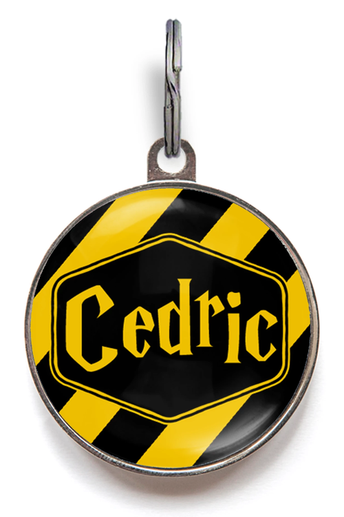 Black and Yellow Stripe Dog Name Tag