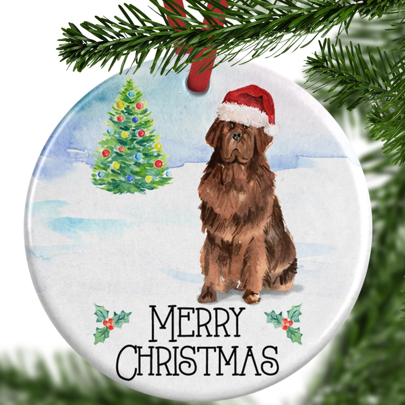 newfoundland dog christmas ornament