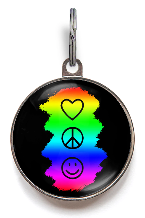 Peace, Love & Happiness Pet Tag