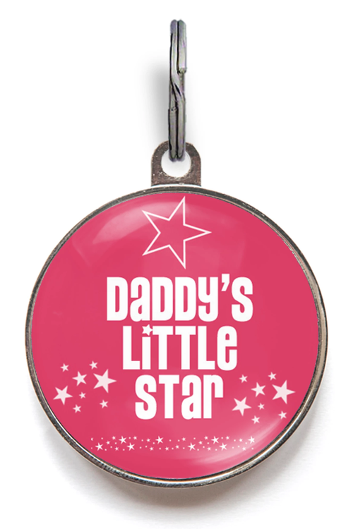 Daddy's Little Star Pet Tag - Pink