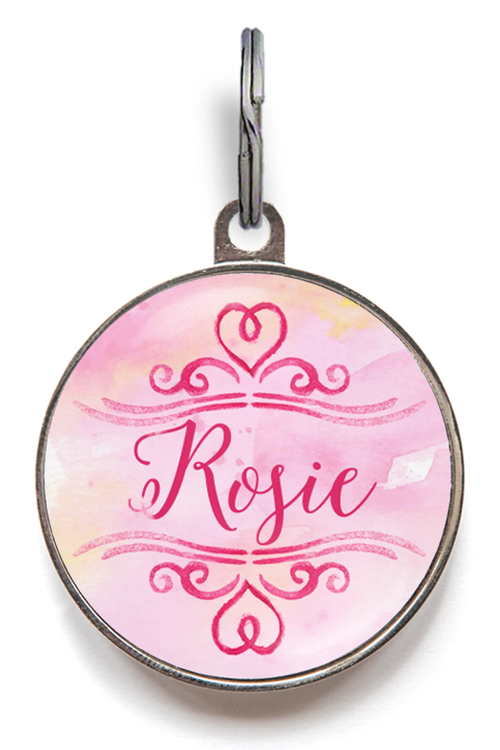 Pink Heart Pet Name Tag