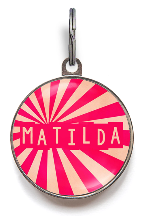 Pink Sunburst Dog ID Tag