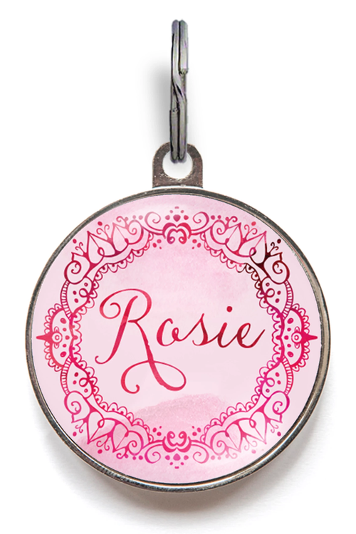 Pink Watercolour Pet Name Tag
