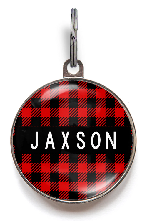 Plaid Pet Tag For Cats and Dogs