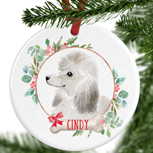 Poodle Personalised Christmas Ornament
