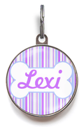 Purple & Lilac Stripe Dog ID Tag