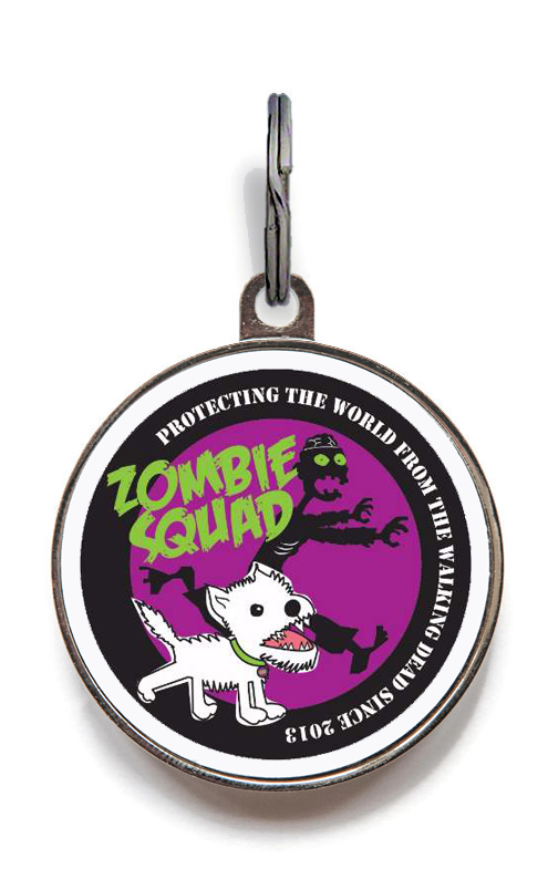 Purple Zombie Squad Pet Tag