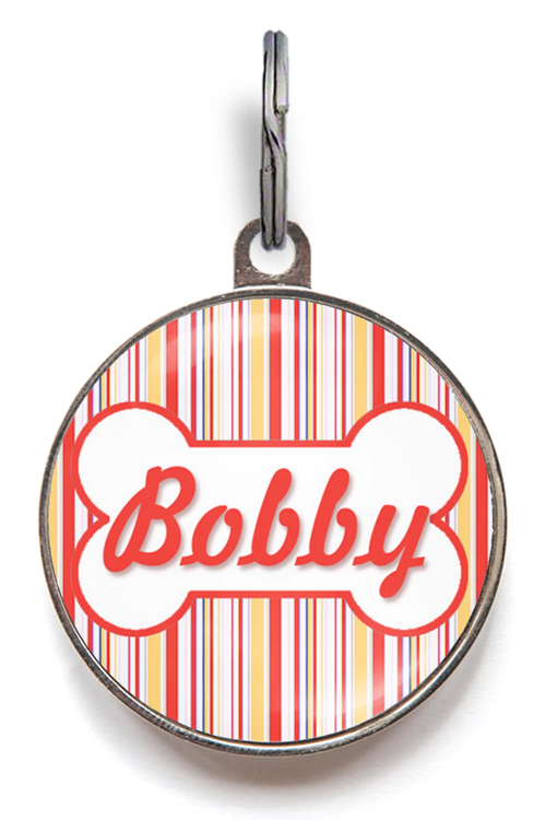 Red And Orange Stripe Dog ID Tag