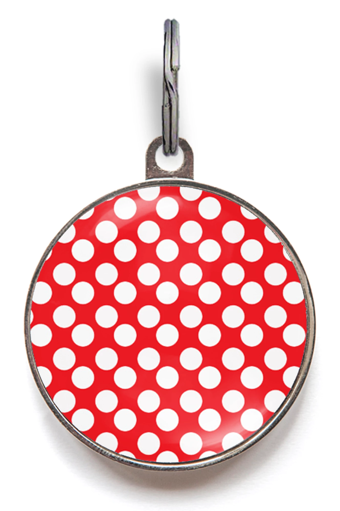Red And White Spots Pet Tag