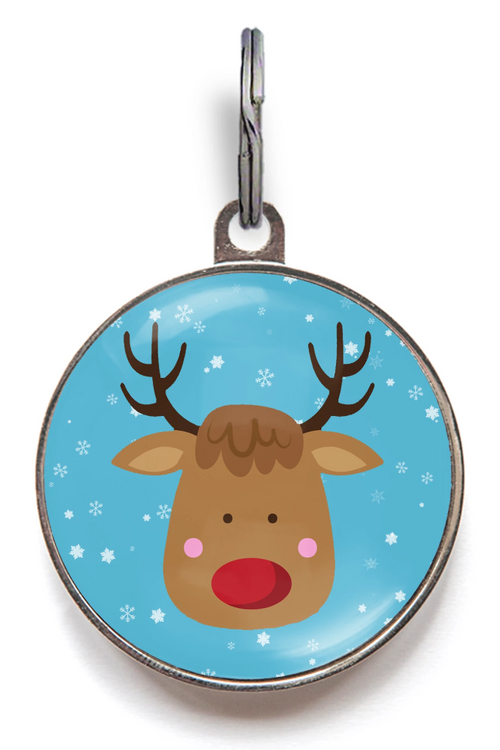 Red Nosed Reindeer Pet ID Tag