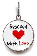 Rescued With Love Pet ID Tag - White