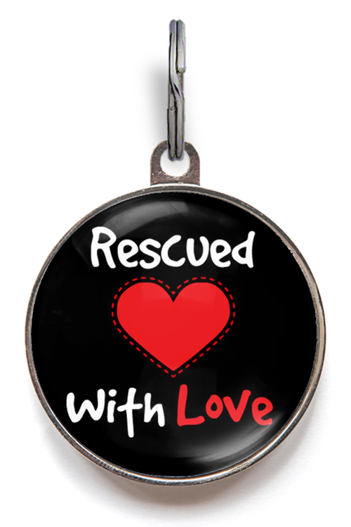 Rescued With Love Pet ID Tag - Black