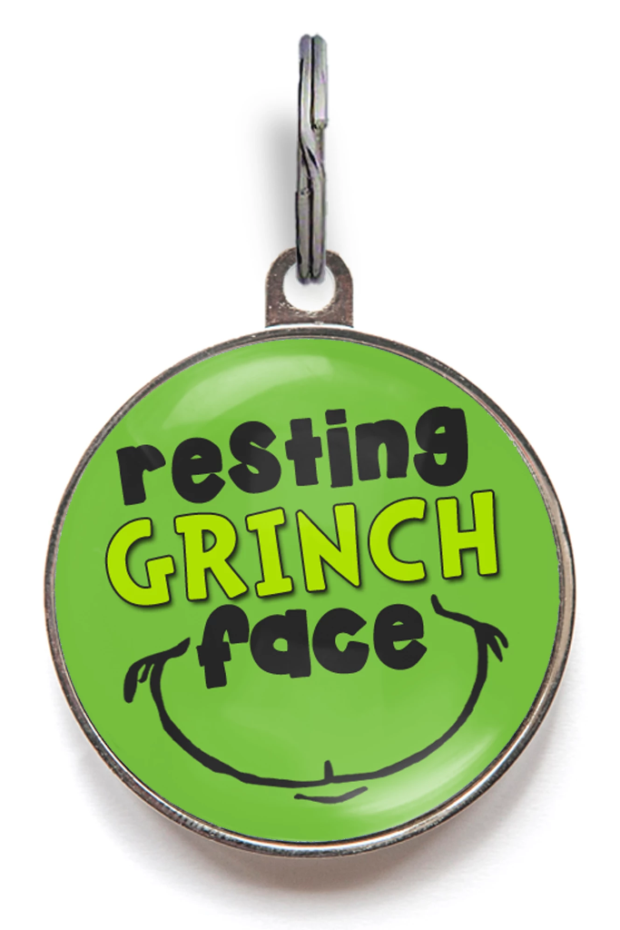 Grinch Pet Tag Resting Grinch Face Christmas Pet Tags