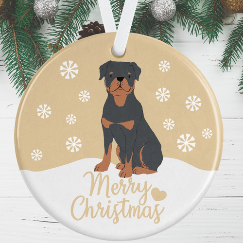 Rottweiler Christmas Decoration - Gold