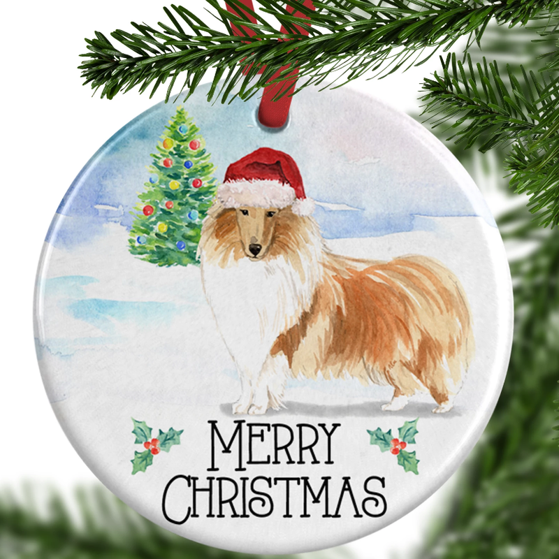 rough collie christmas ornament
