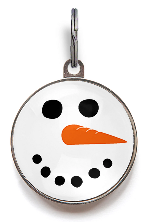 Snowman Face Pet ID Tag