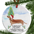 Tan Dachshund Christmas Ornament