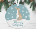 Whippet Christmas Decoration - Blue