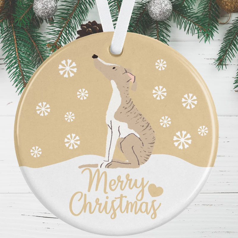 Whippet Christmas Decoration - Gold