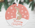 Whippet Christmas Decoration - Pink
