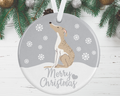Whippet Christmas Decoration - Silver