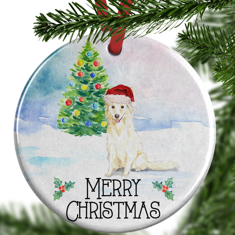 white collie christmas ornament