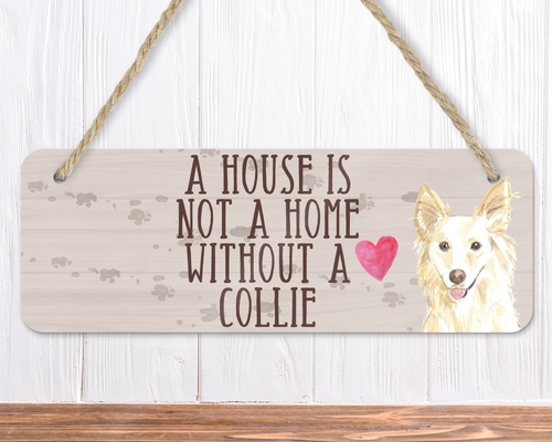 White Collie Dog Sign