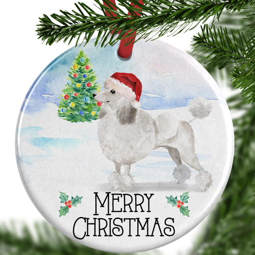 White Poodle Christmas Ornament