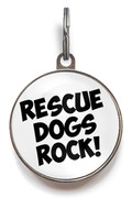 Rescue Dogs Rock! Dog ID Tag - White
