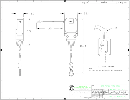 PAT Hirschmann Anti two block switch schematic drawing with size scale