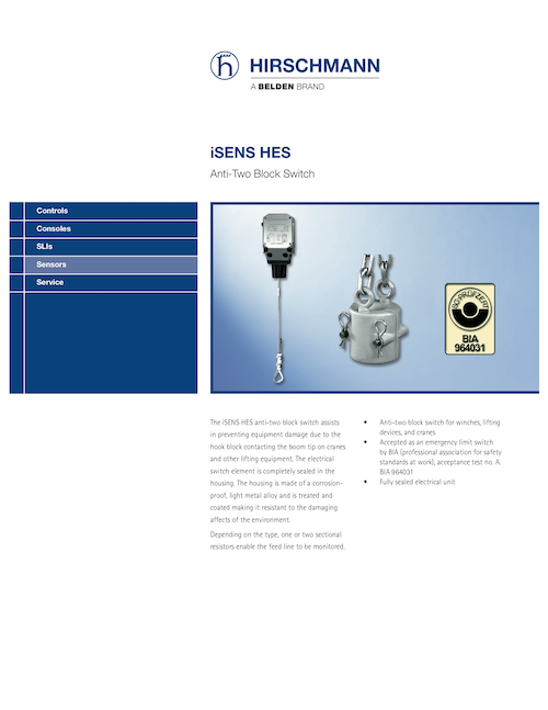 iSENS HES Anti Two Block Switch brochure image