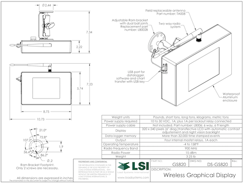 LSI Trimble GS820 Specifications Sheet