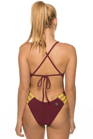 Nico Tie-Back Onesie - Cabernet/Chartreuse Yellow