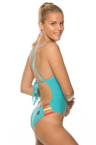Nico Tie-Back Onesie - Hawaii Blue/Strawberry/Highlighter Yellow