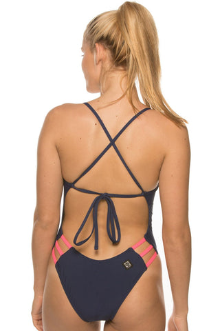 Nico Tie-Back Onesie - Navy/Hot Pink