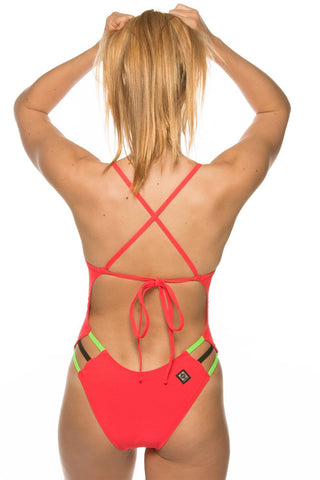 Nico Tie-Back Onesie - Strawberry/Lime/Black