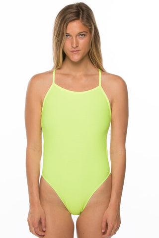 Contrast Gavin Tie-Back Onesie - Highlighter Yellow