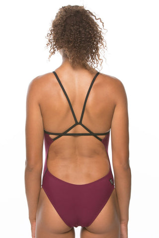 Perry Fixed-Back Onesie - Cabernet/Black