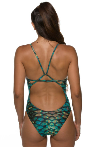 Printed Perry Fixed-Back Onesie - Fins