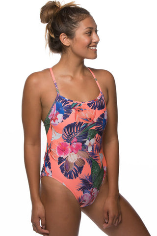 Printed Scotty Fixed-Back Onesie - Samoa Coral