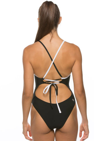 Gabriel Tie-Back Onesie - Black & White