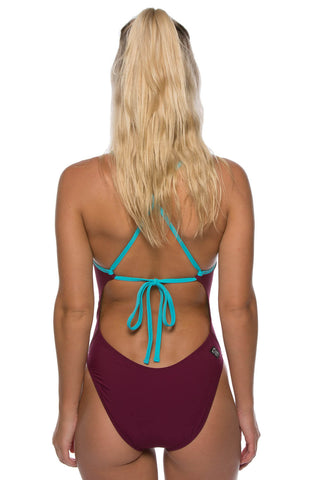Jackson 2 Tie-Back Onesie - Cabernet/Hawaii Blue
