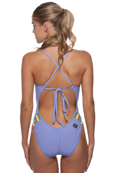 Contrast Gavin Tie-Back Onesie - Lavender/Icicle/Highlighter Yellow