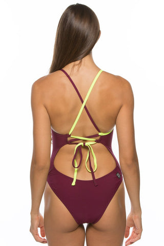 Gabriel Tie-Back Onesie - Cabernet & Highlighter Yellow