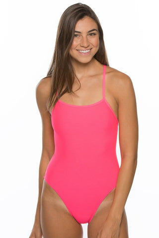 Gavin Tie-Back Onesie - Hot Pink