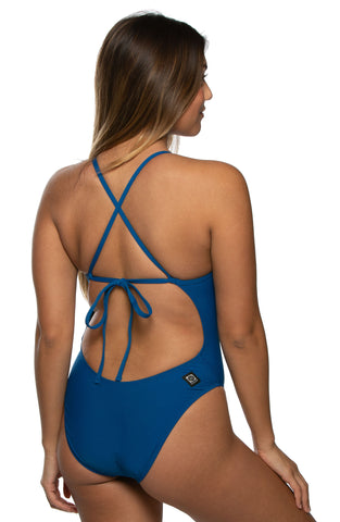 Jackson Tie-Back Onesie - Deep Blue Sea