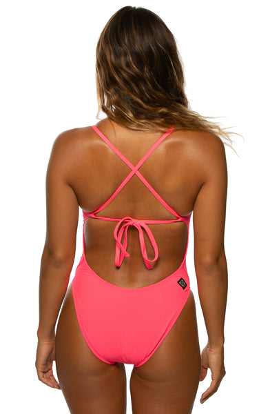 Jackson Tie-Back Onesie - Hot Pink