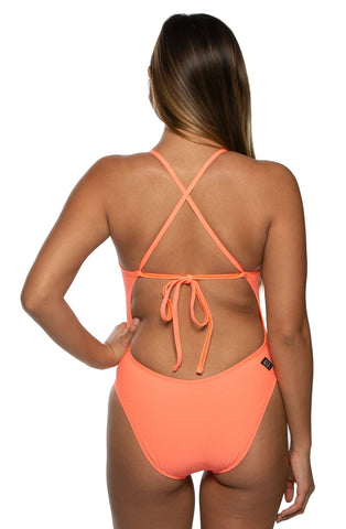 Jackson Tie-Back Onesie - Papaya