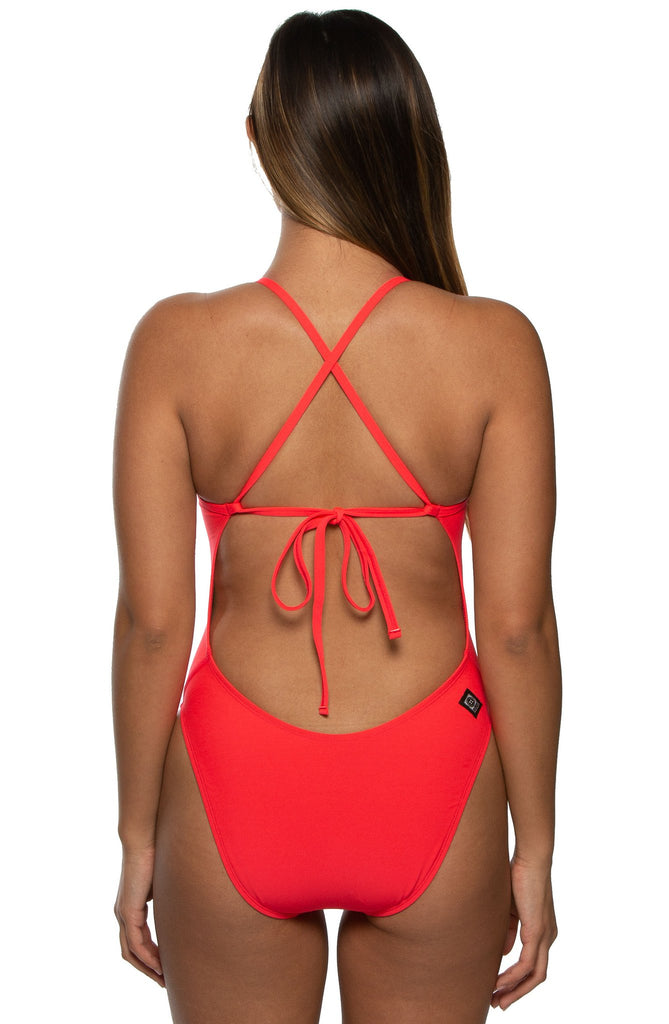 Jackson Tie-Back Onesie - Strawberry